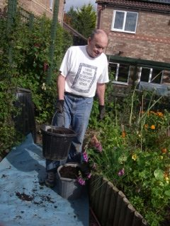 John in the Living Foods Garden