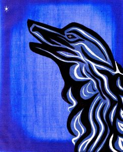 Painting by Denis many moons ago In memory of a beloved canine companion 'Barnie bathed in the light of Sirius'